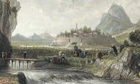 Chinese bank note vignette showing walled city of Ningpo was based on this Illustration by Thomas Allom