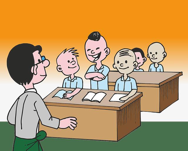 Maestro y alumnos en el aula