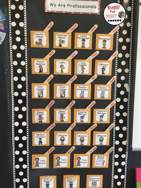 classroom jobs, polka dot classroom, buggyforfirst, polka dots, ladybug classroom, first grade, classroom decor, classroom reveal