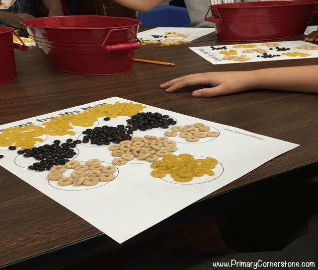 Want a fun way to count by 10s on the 100th day of school? Group by tens using cheerios, dry beans or any fun manipulative you can get your hands on!