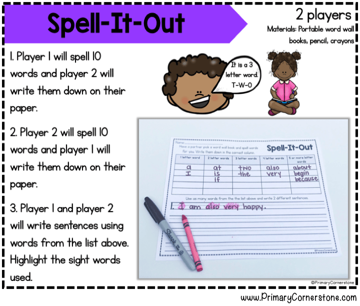 Sight word centers that have directions explicitly explained will help the students in primary grades to stay on task and engaged.