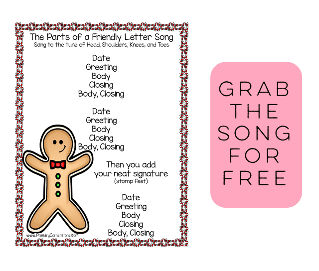 Grab this friendly letter song for FREE and gain access to a resource library! This song will help your elementary students understand how to organize a friendly letter just in time for Christmas and Santa letter writing!