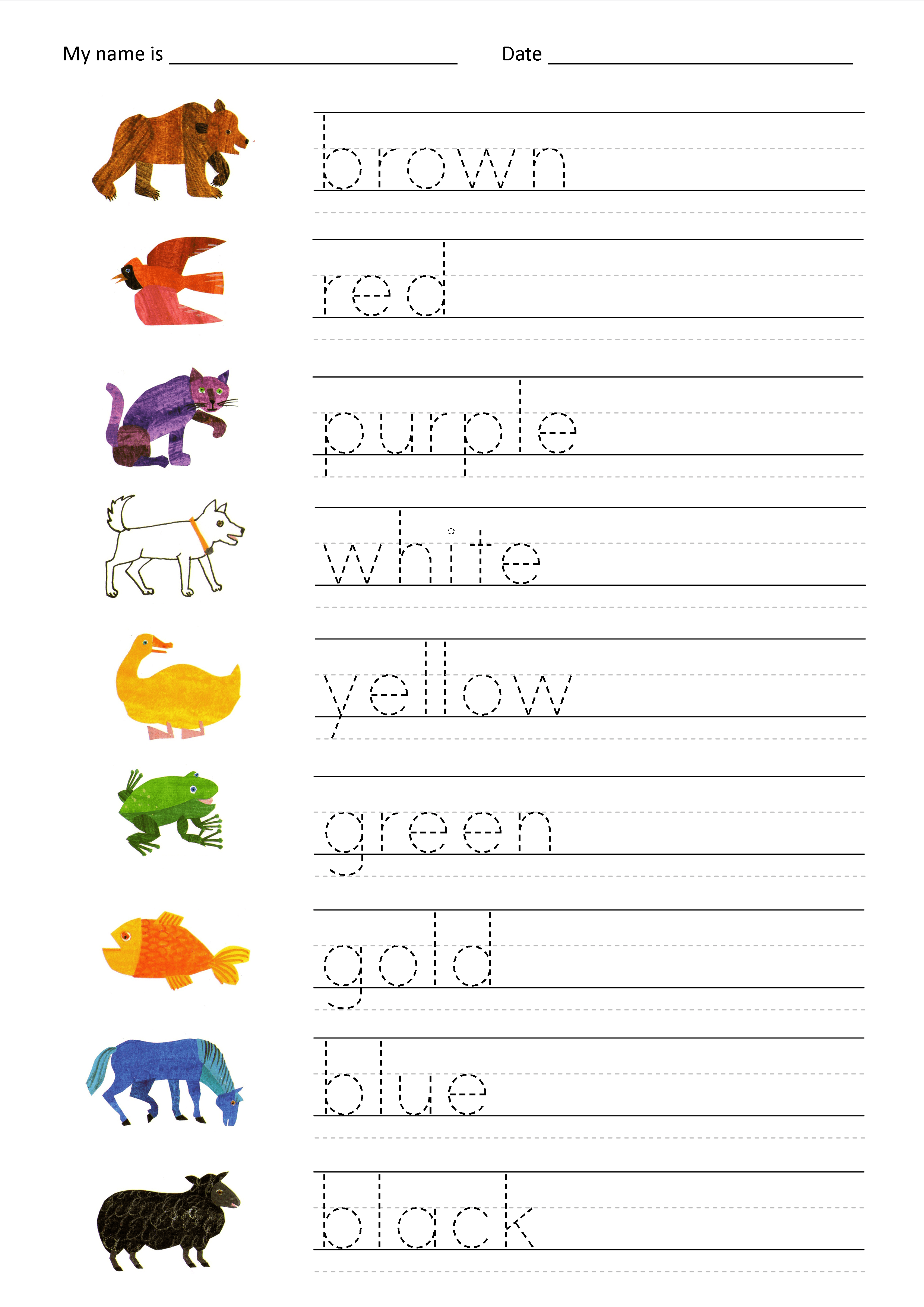 Colours Worksheets 1a Eval