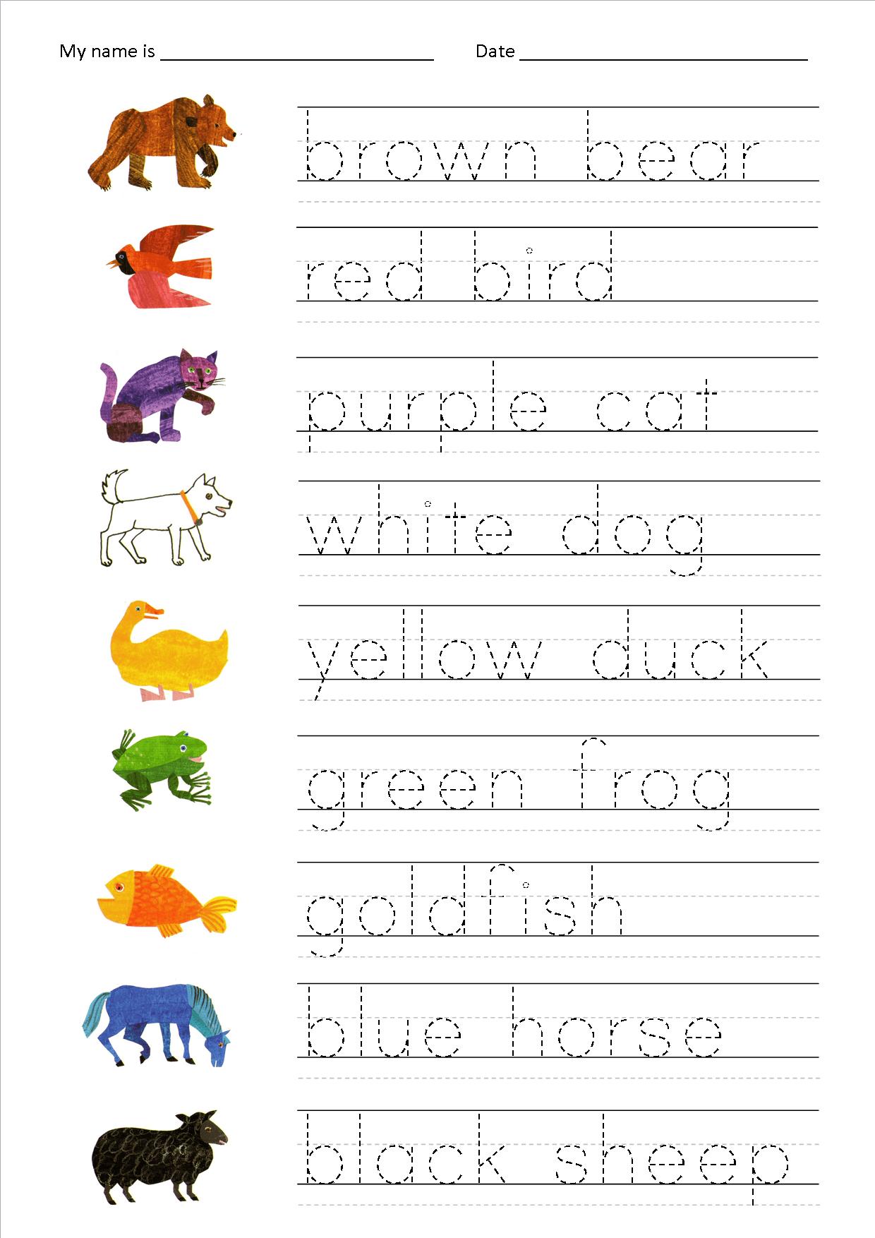 Handwriting Worksheet Esl
