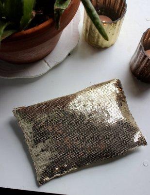 Gold Sequin Zipper Handbag Clutch