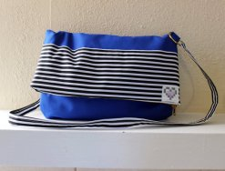 Bright Blue and Black and White Stripe Fabric Medium Fold Over Messenger Style Cross Body Purse