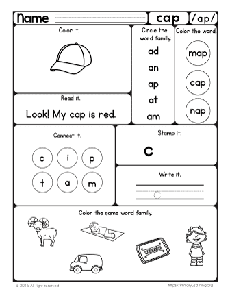 Cap Worksheet The Ap Word Family Primarylearning Org