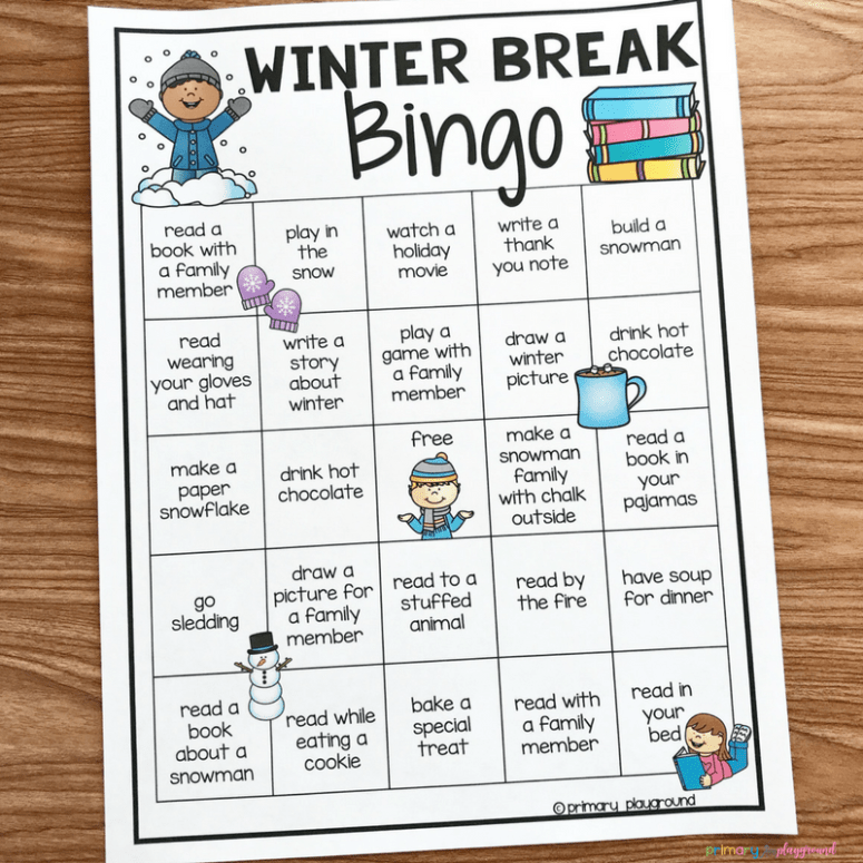 Free Printable Winter Break Bingo