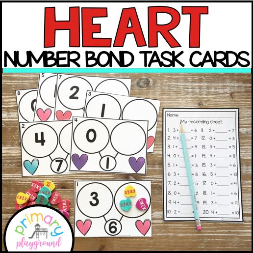 Heart Number Bond Task Cards