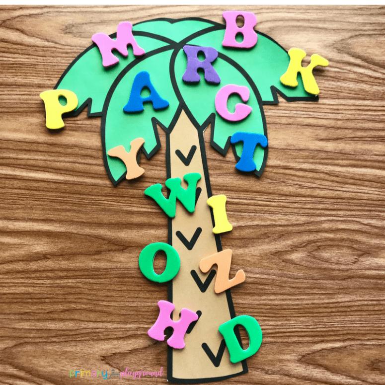 Free Printable Alphabet Tree Center -Chicka Chicka Boom Boom