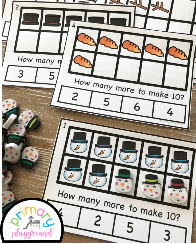 Snowman Ten Frame Task Cards