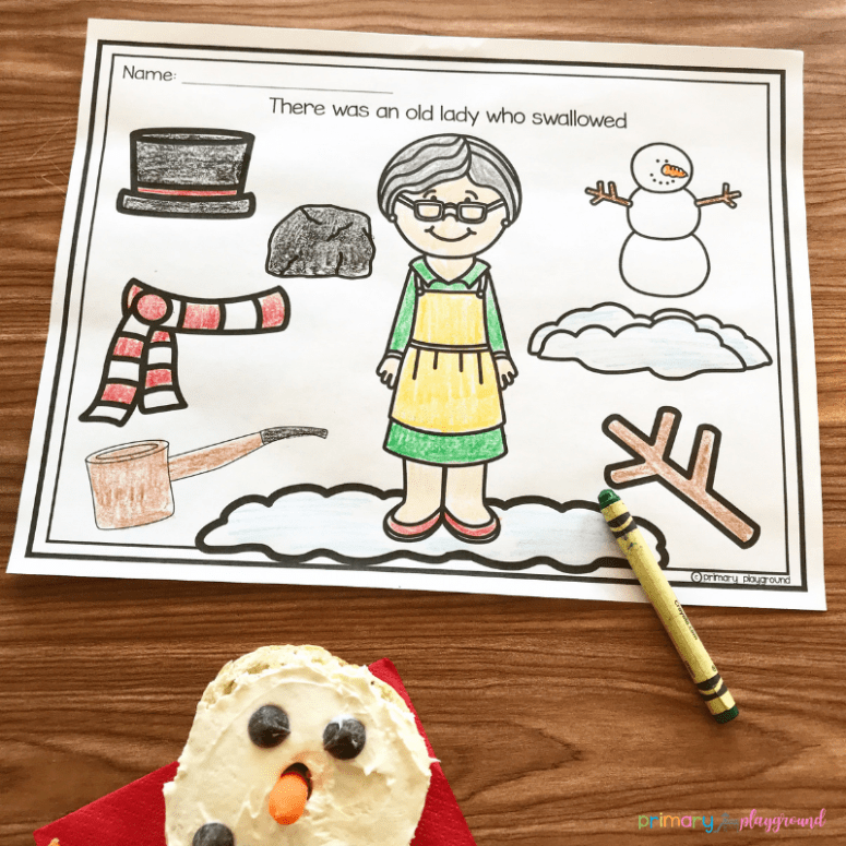 literacy snack idea snowman -There Was A Cold Lady Who Swallowed Some Snow!