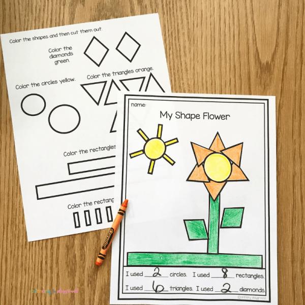 free printable 2D shape flower template