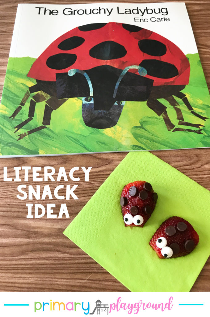 Grab our FREE printable and see our snack idea to use with The Very Grouchy Ladybug.  It's a great addition to your spring read-aloud collection.