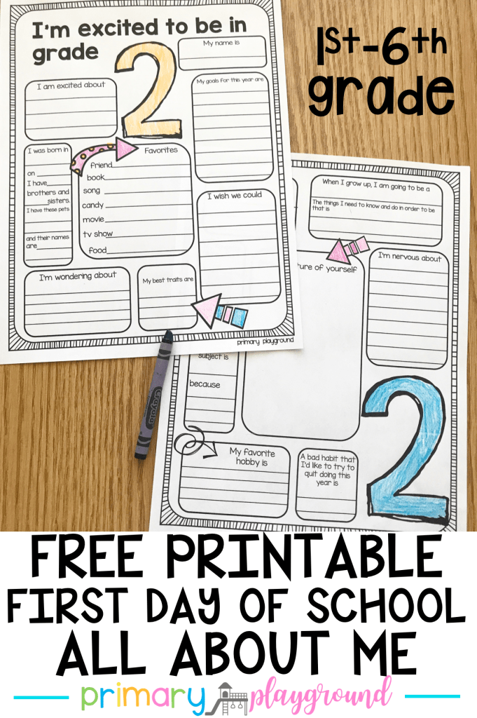 free printable back to school all about me