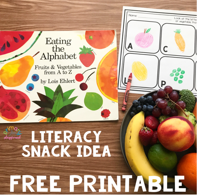 Literacy Snack Idea Healthy Alphabet + Free Printable