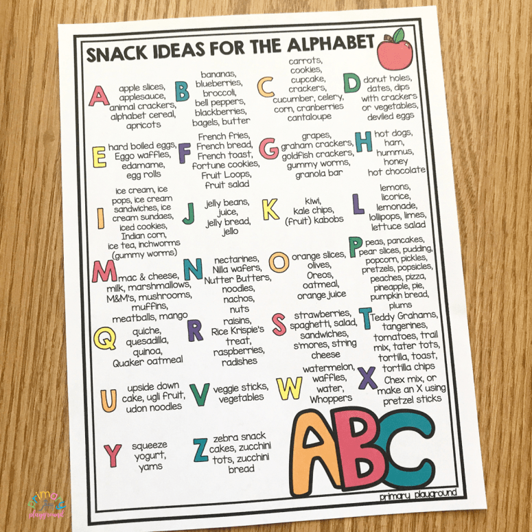 snack ideas for the alphabet