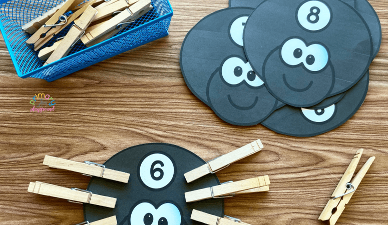Free Printable Clip Counting Spiders