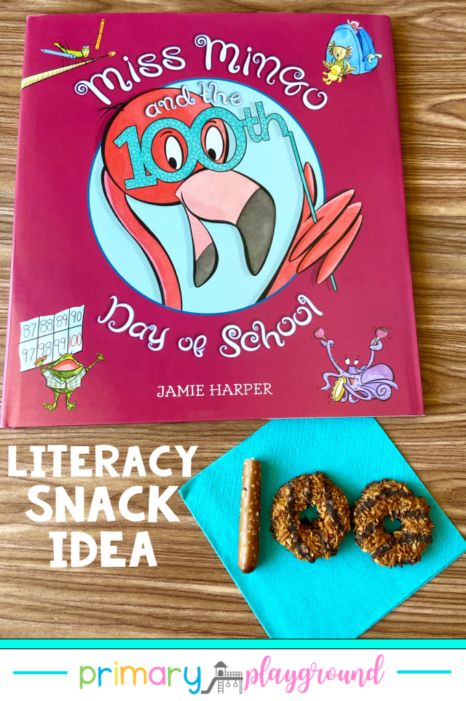 Grab our FREE printable and see our snack idea to use with Miss Mingo and the 100th Day of School. It's a great addition to your 100th Day read-aloud collection.