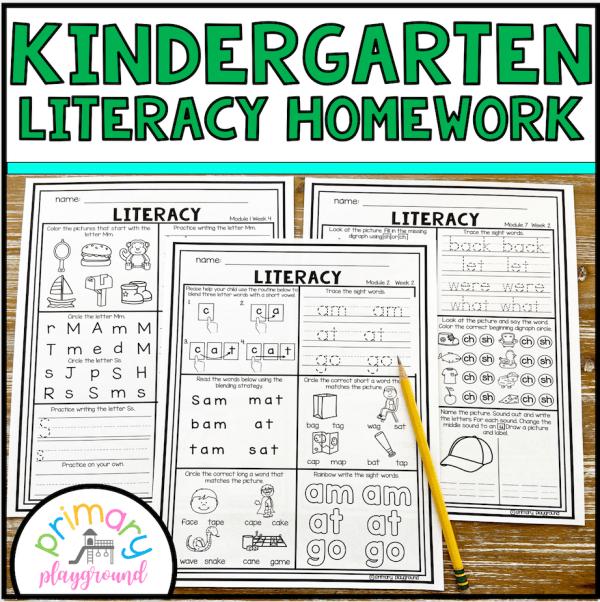 Kindergarten Weekly Literacy ELA Homework