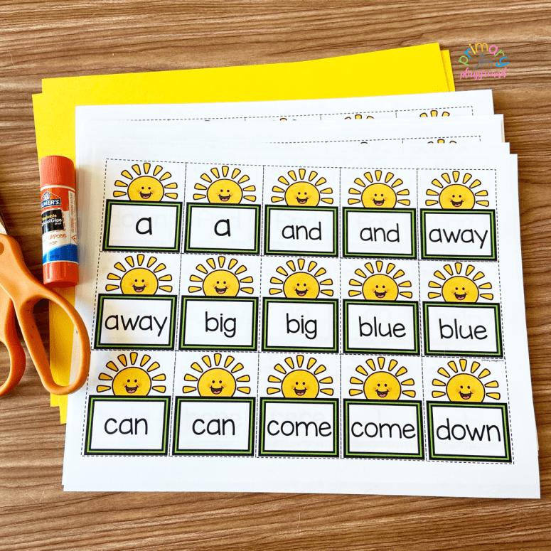 sunshine sight word memory game