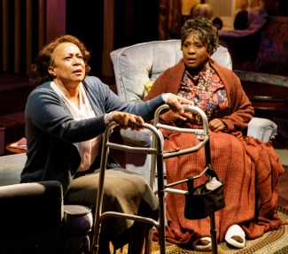 S. EPATHA MERKERSON and ELAIN GRAHAM in While I Yet Live. (c) 2014 James Leynse Primary Stages production of While I Yet Live by Billy Porter, directed by Sheryl Kaller at Primary Stages at The Duke on 42nd Street.