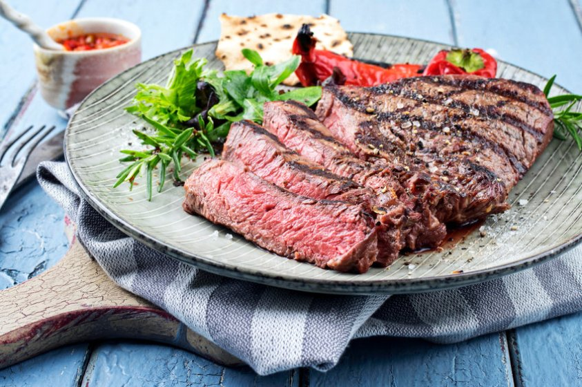 beautiful plate with steak