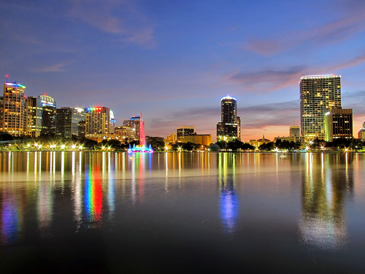 The Orlando skyline as viewed from Lake Eola in downtown Orlando