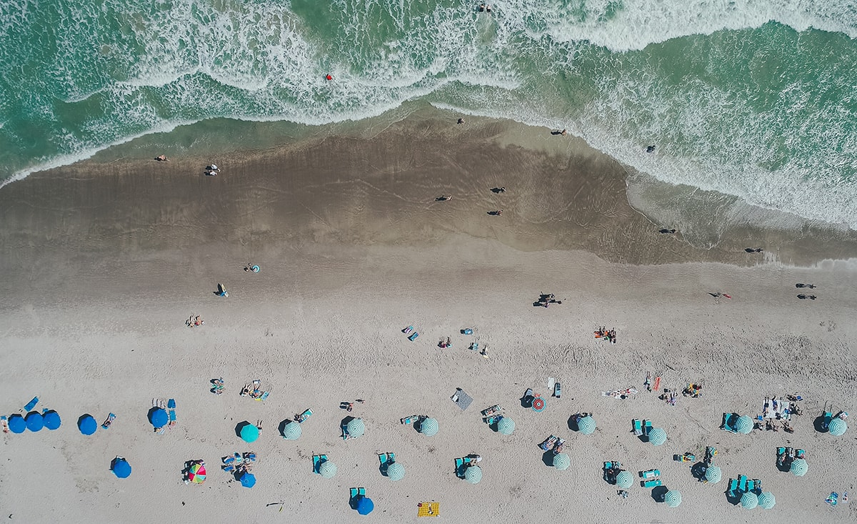 aeriel view of Cocoa Beach Florida