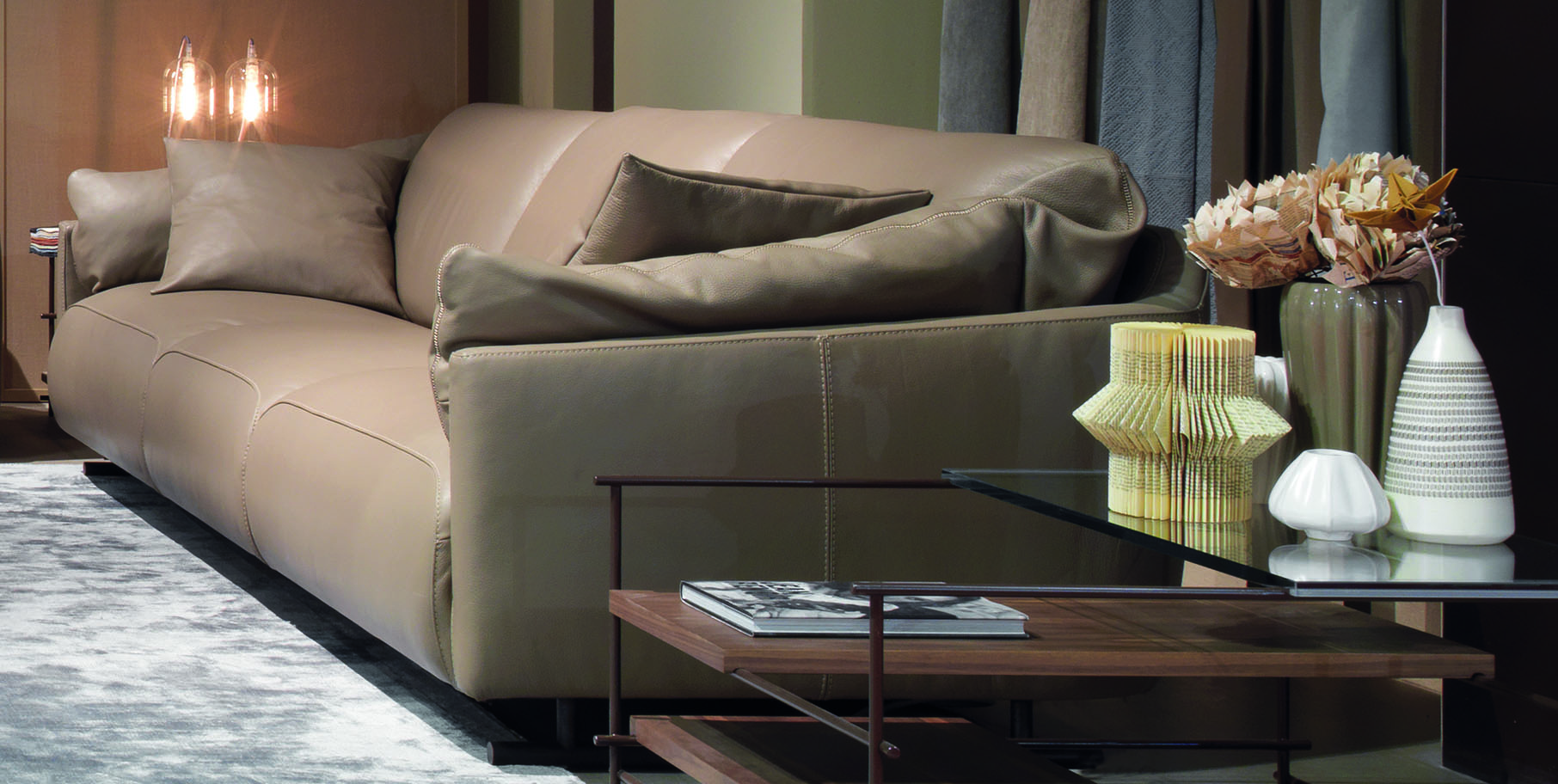 Contemporary 3 Pieces Italian Leather Living Room Set