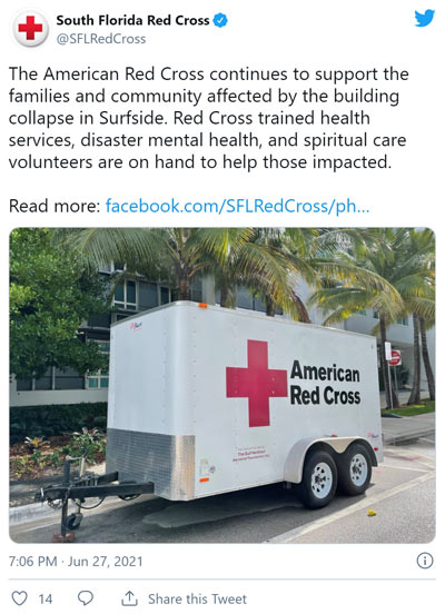 Surfside condo collapse red creoss twitter post collecting donations