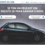 """Peugeot lança desafio publicitário """"Procura 206"""" em Portugal"""