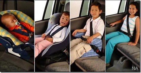 Novas regras para se transportar crianças no carro