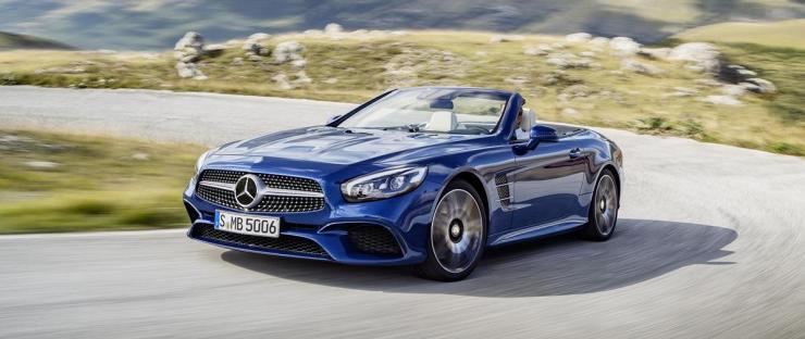 Mercedes-Benz SL 500. Brillantblau mit AMG Line