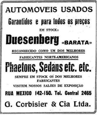Anúncio de um Duesenberg em 1929. Não se sabe se algum Duesy realmente veio ao Brasil