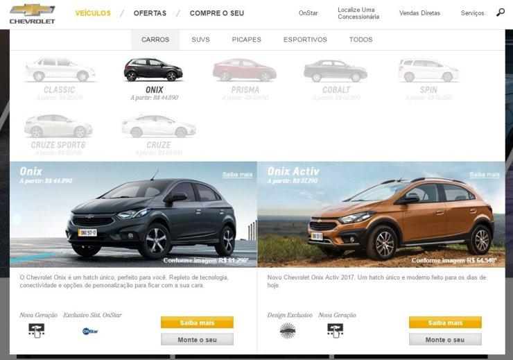 Site da Chevrolet revelou os preços do Onix Activ antes da hora
