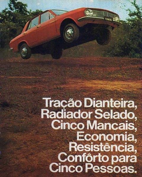 Propaganda de 1969 do primeira carro nacional com circuito de refrigeração selado, o Ford Corcel.