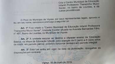 Photo of PREFEITO DE VIÇOSA ASSINA LEI DE CRIAÇÃO DE CENTRO EDUCACIONAL NO LOURDES
