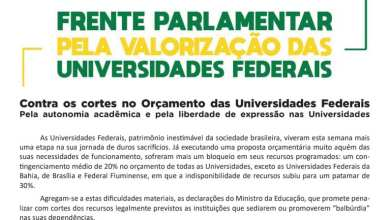Photo of FRENTE PARLAMENTAR PRONUNCIA-SE SOBRE CORTES NAS UNIVERSIDADES FEDERAIS