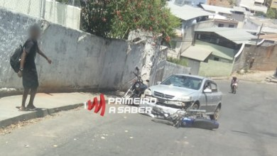Photo of Colisão entre carro e motocicleta no Morro do Cruzeiro