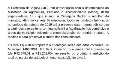 Foto de Prefeitura de Viçosa divulga nota informando que irá intensificar a fiscalização nos comércios em relação a venda da cerveja Belorizontina