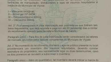 Photo of Prefeitura divulga decreto que recolherá máscaras, álcool em gel e medicamentos de farmácias em Viçosa