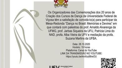 Foto de Curso de Dança da UFV comemora 20 anos e convida população para participar das celebrações
