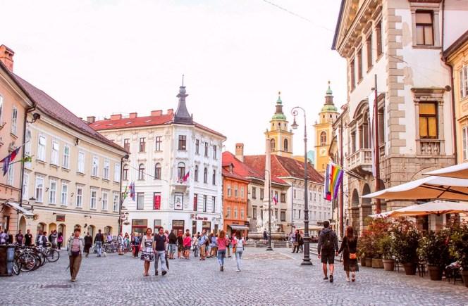 Centro de Liubliana, na Eslovênia