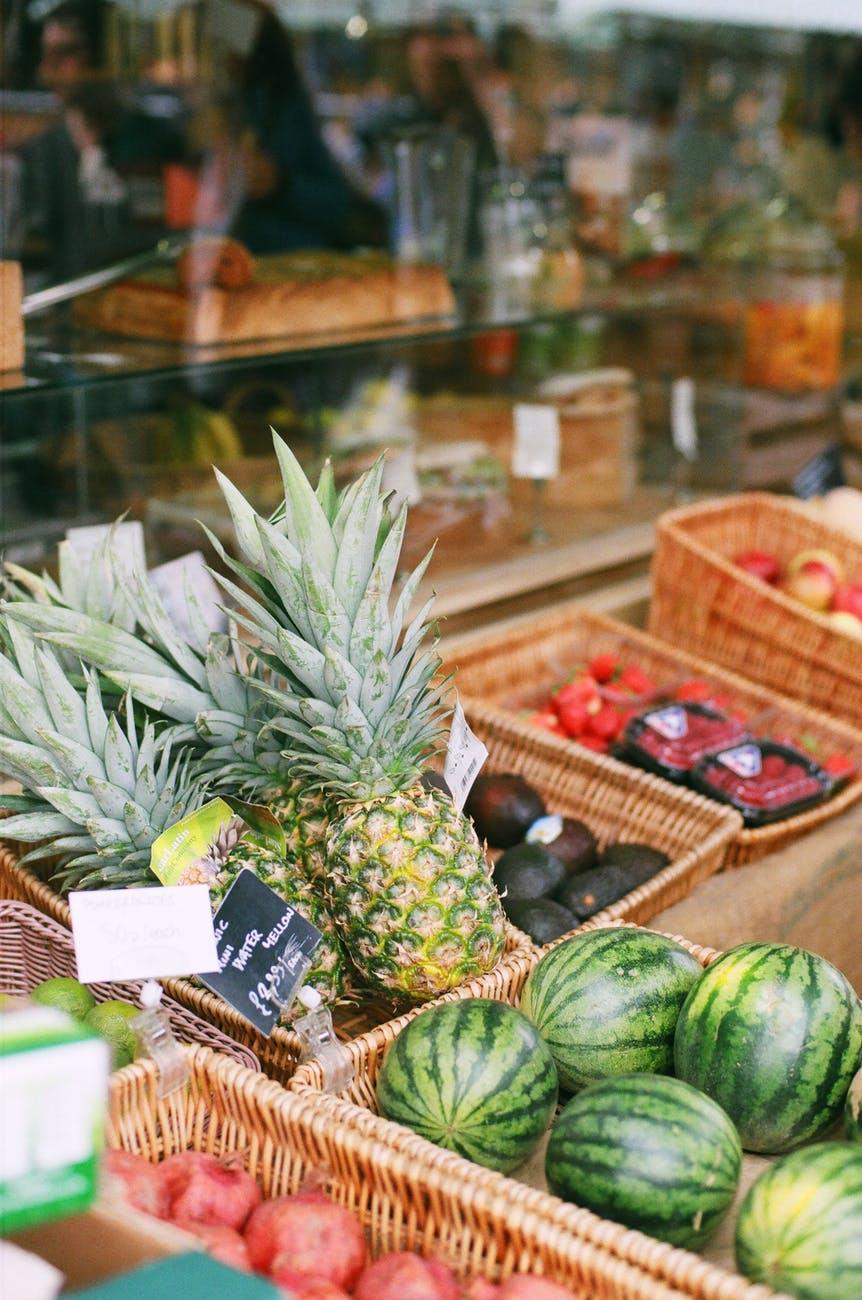 street market fruits pineapple shopping