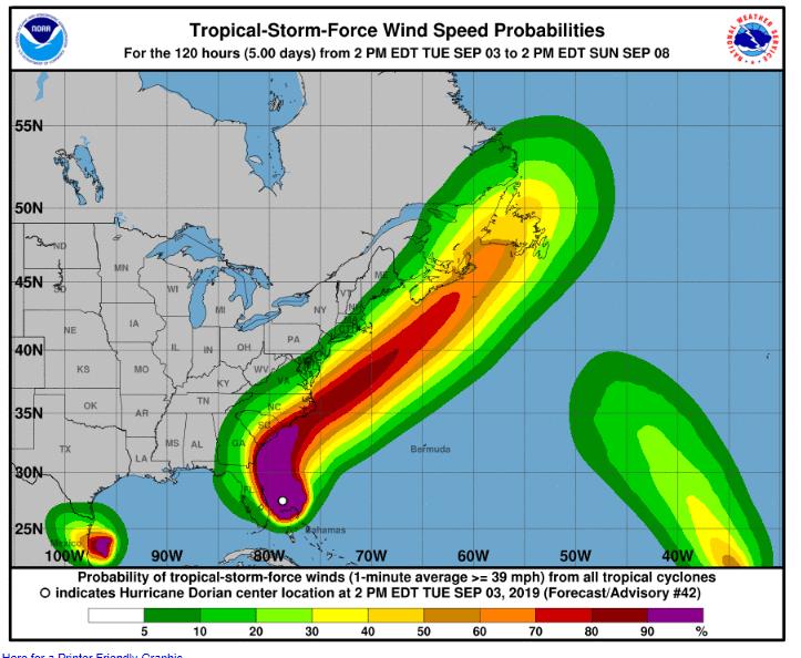 Recorrido del huracán Dorian por la costa Este de Estados Unidos