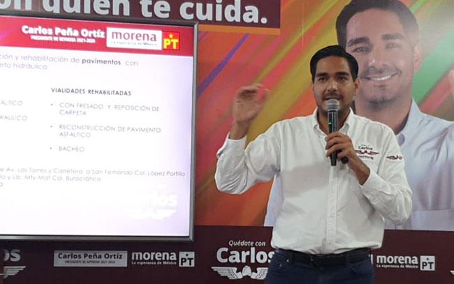 Muestra Carlos Peña el eje