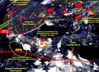Se mantiene pronóstico de lluvias para el sur del país