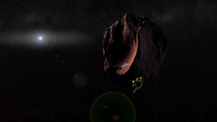 Representación artística de New Horizons sobrevolando 2014 MU69. Imagen vía NASA.