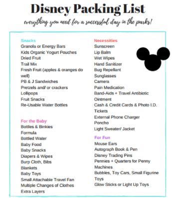 Lista para empacar viaje a Disney